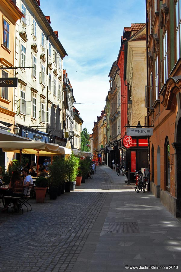 A thin walking street in Old Town Ljubljana.