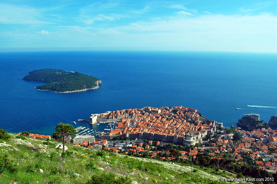 Looking down on the old walled city of Dubrovnik.
