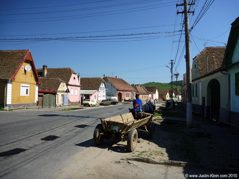A horse-drawn carriage in the small town of Cristian Sibiu.