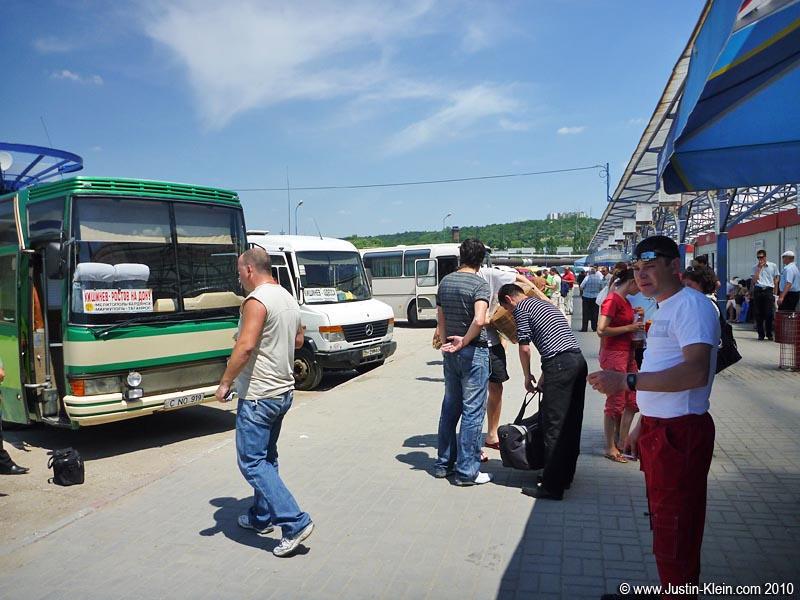 The minibus terminal in Chişinău.  The start of an unplanned adventure.