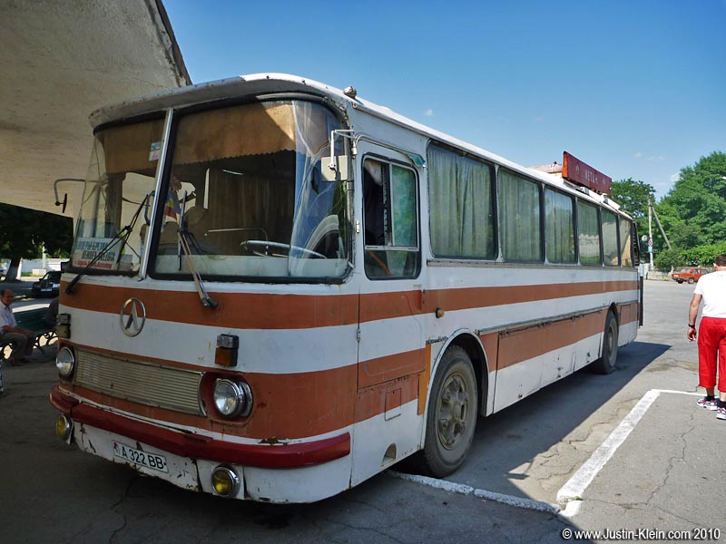 An old bus in Tiraspol, the capital of Transdniestr.