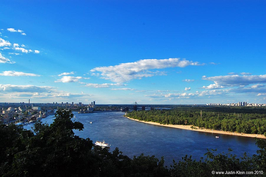 Across the Dnieper River sits Trukhaniv Island, lined with sandy beaches and recreational areas.