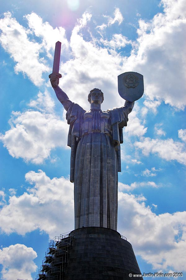 Statue of Liberty?  Not exactly…that's a sword, not a torch.