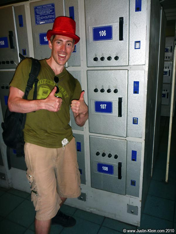 We did it.  We somehow managed to cram our huge backpacks into these not-<i>nearly</i>-big-enough coin lockers.
