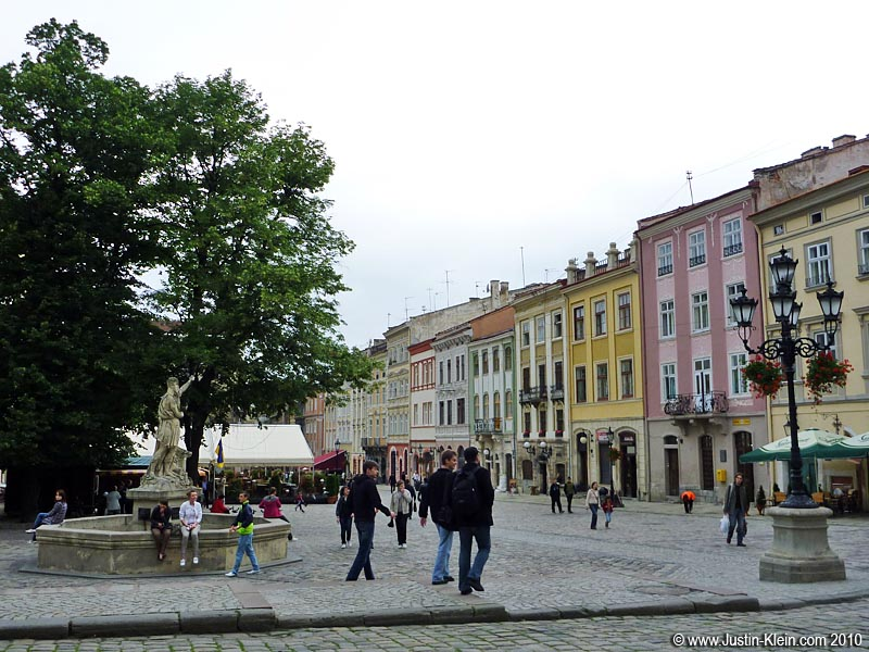 Ploscha Rynok, the old market square of Lviv – and a UNESCO World Heritage Site.