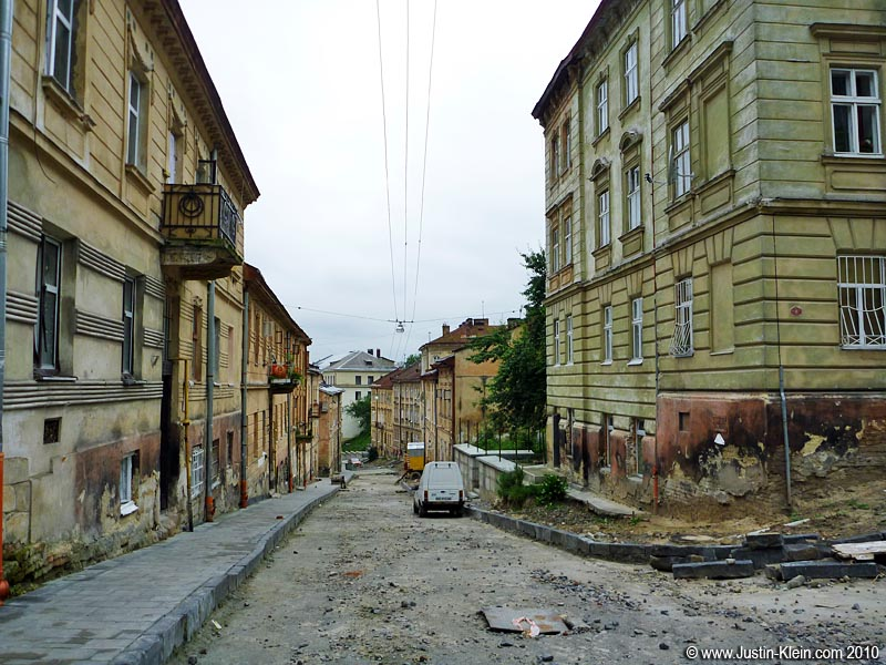 A road leading up towards Castle Hill.  I wouldn't say this level of maintenance was typical of Lviv – but outside the historic center, I wouldn't say it was uncommon either.