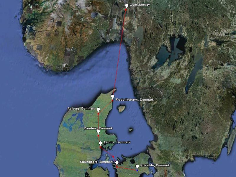 A map of our route: from Oslo to Roskilde by bike and by boat.
