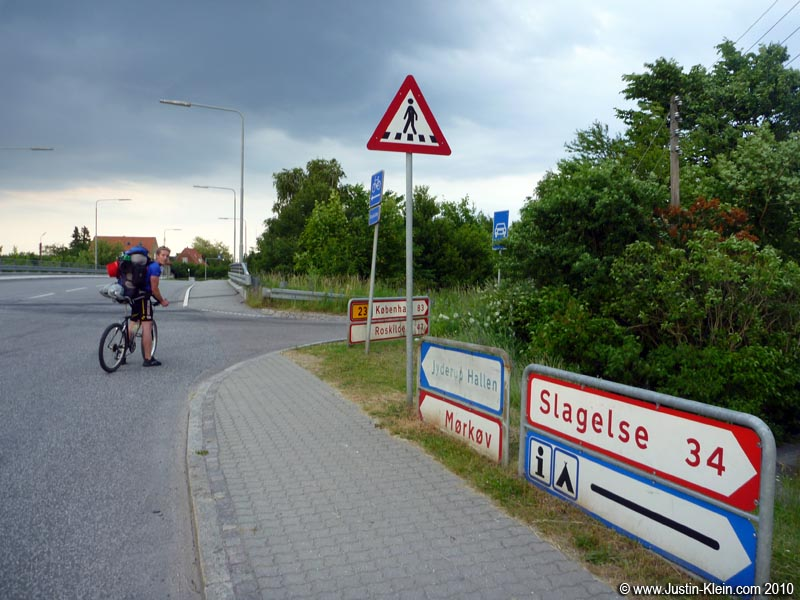 Look at that sign! 47km to Roskilde!