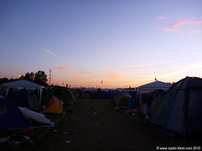 The sun sets over Roskilde's Camp East.
