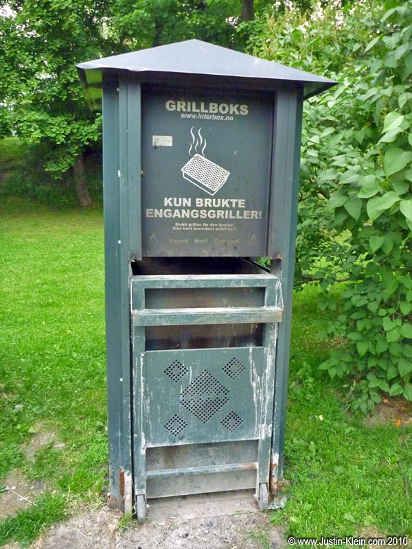 A bin for disposing used grills in Oslo.