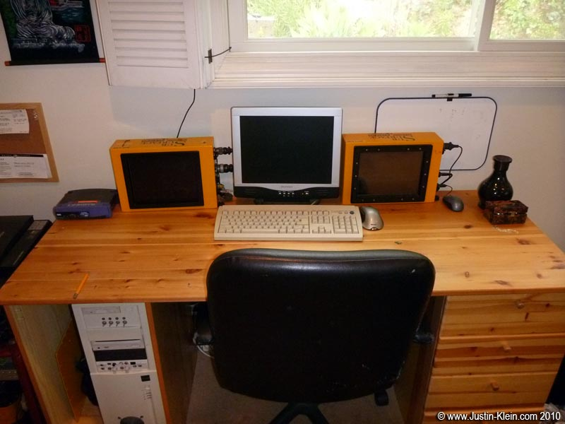 And the 2nd half of the story: the radars themselves.  Note that these are just the controllers; the actual antennas & main head electronics are hidden underneath the desk.  Both are on an Insteon network so I can power them on remotely, then control them with LogMeIn, connect to my VPN, and execute code directly with Visual Studio's remote debugger.  Handy : )