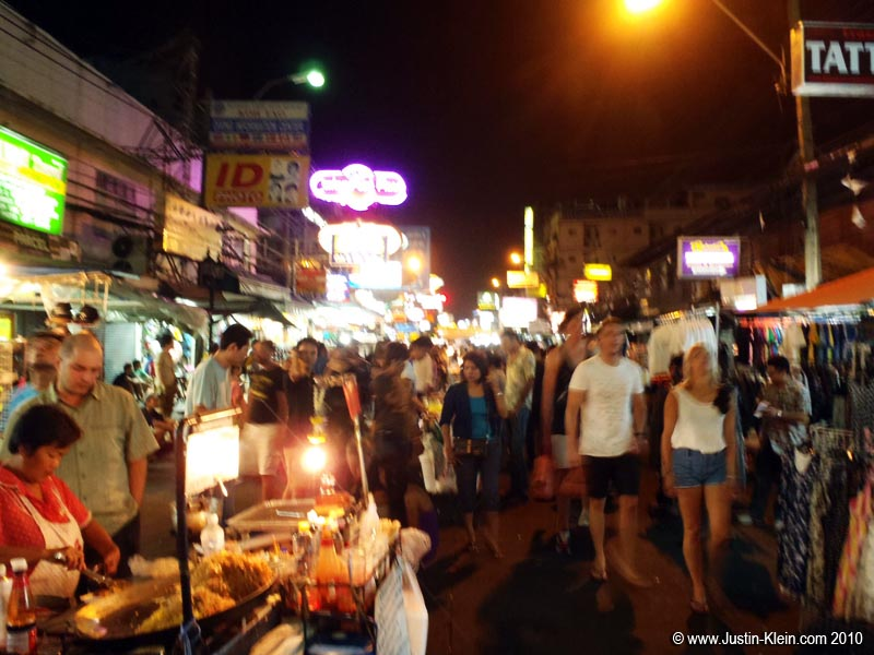 Khao San Road.  Because it's fueled almost entirely by backpackers, every night feels like a Saturday.