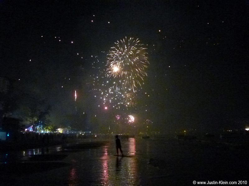 Approaching the fireworks on Patong Beach…