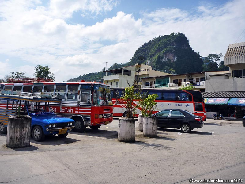 Arriving at the tiny Phang Nga bus station.  It's tourism time!
