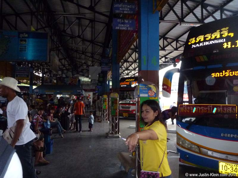 The hectic bus station in Phuket Town.  We got there <i>right</i> as a bus was departing.