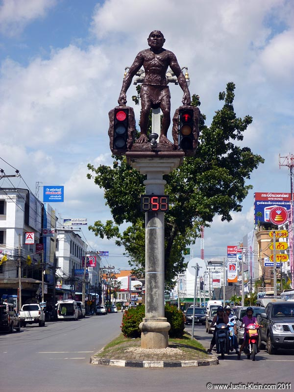 At one of Krabi's main intersections, the stoplights are held up by these giant caveman statues…for some reason.