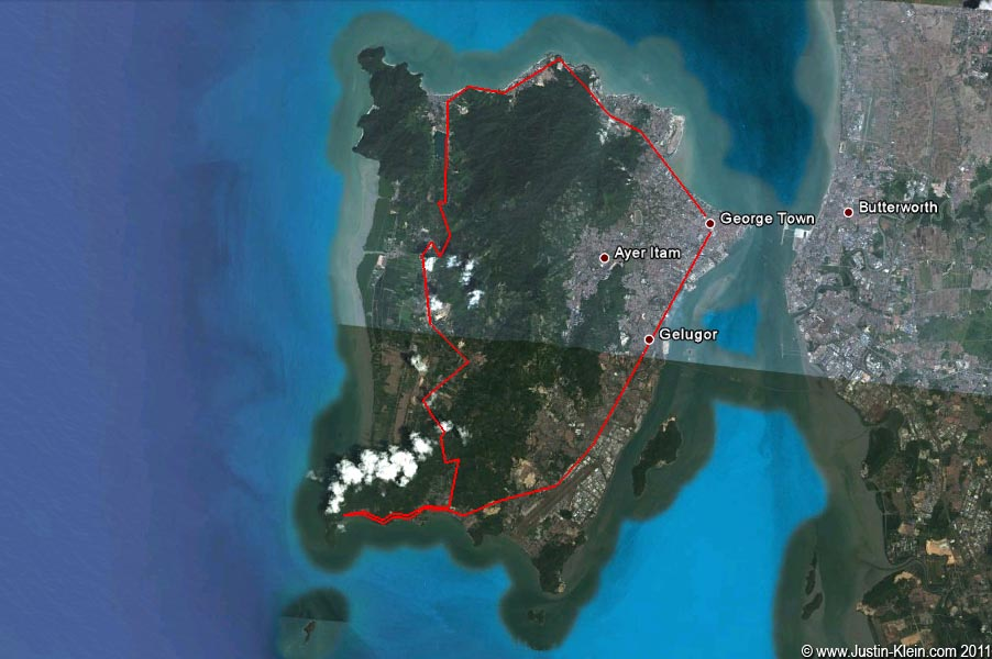 My route around the island.