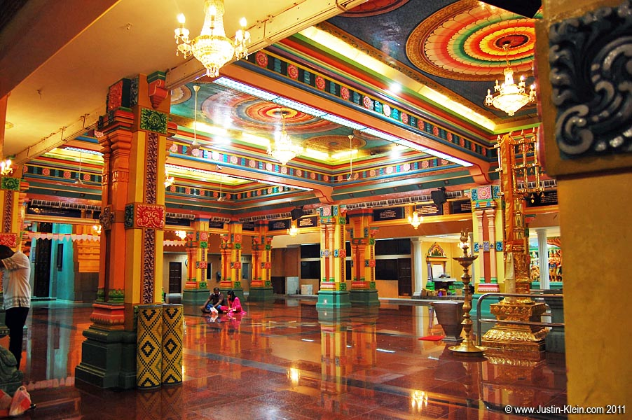 The temple's brilliantly colorful interior.