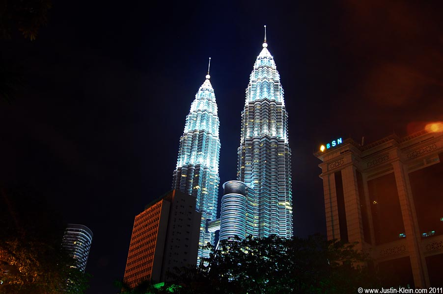As you approach from a distance, the Petronas Towers absolutely dominate the skyline.
