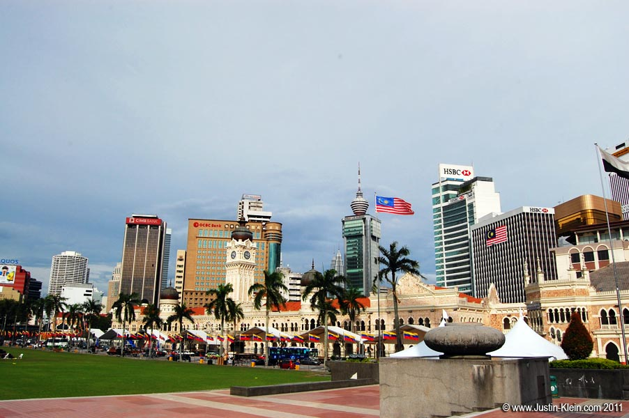 Merdaka Square, with the Petronas Towers just visible in the background.
