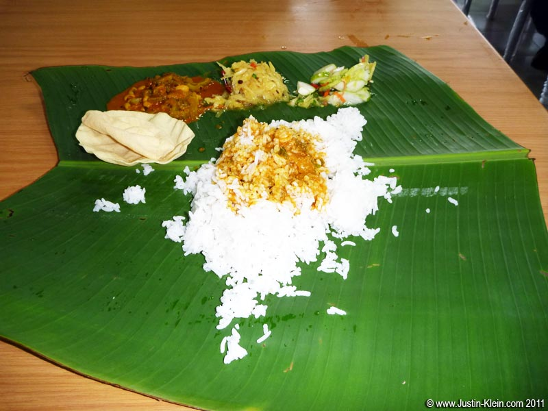 Indian briyani, served on a banana leaf and eaten with bare hands.