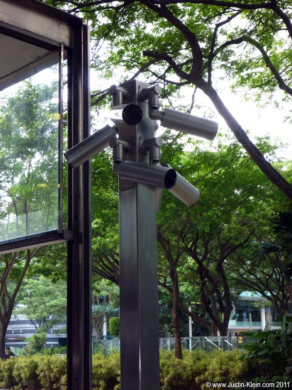 "Virtually every park, subway station, streetcorner and mall has these ""nests"" of cameras.  It's hard not to wonder who's on the other side of their screens…"
