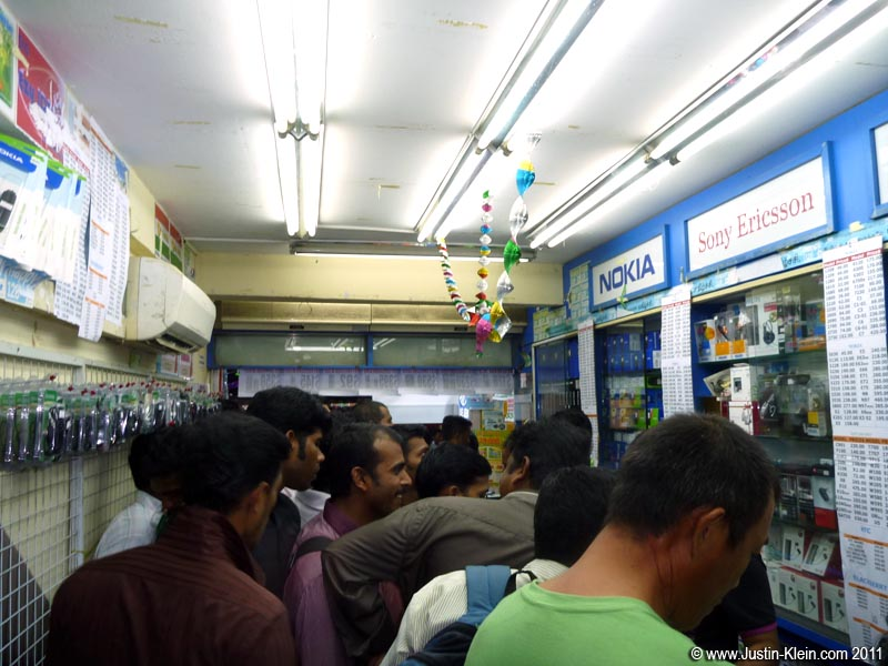 An overflowing cellphone shop where I picked up my SIM card.