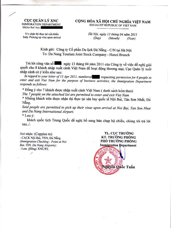 An approval letter for my Vietnamese visa.  Don&#8217;t forget to secure one <i>before</i> you arrive, or as my friend Jeff learned, they <i>will</i> turn you away!