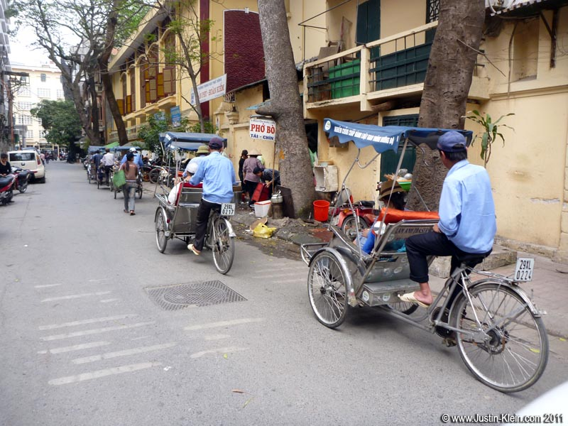 Though not as colorful as Melaka's, Hanoi does have some trishaws of its own.