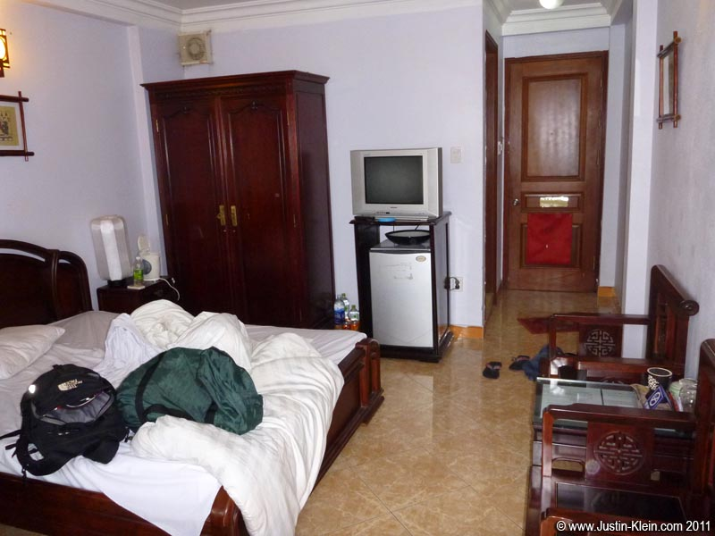 "My new room at Hanoi Lucky Hotel 2.  Of all the places I've <i>ever</i> stayed, this is probably the best ""bang for your buck."""
