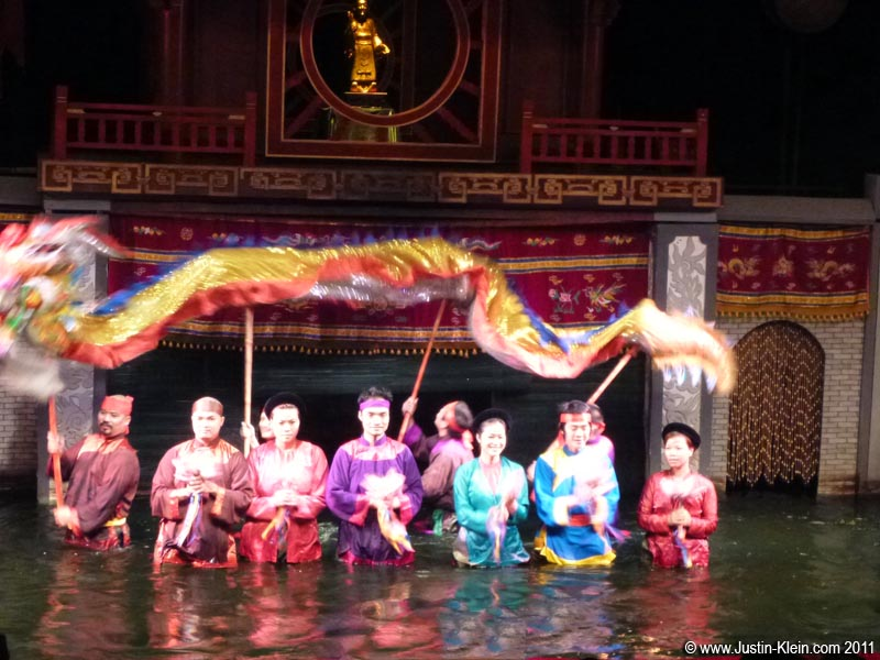 Puppeteers and musicians at the Water Puppet Theater.