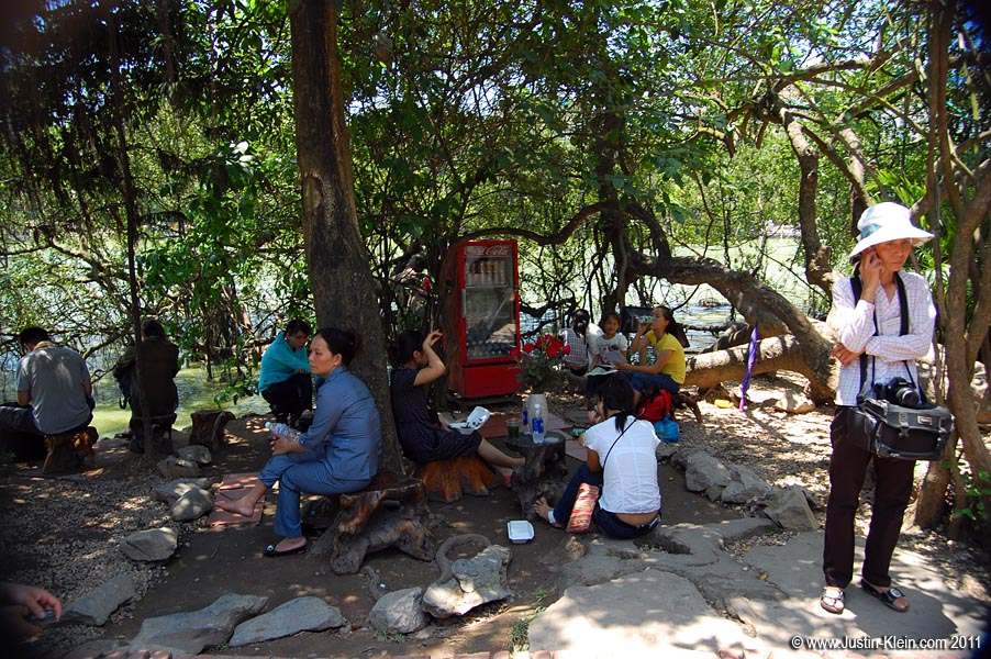 Relaxing on the grounds of Ngoc Son Temple.