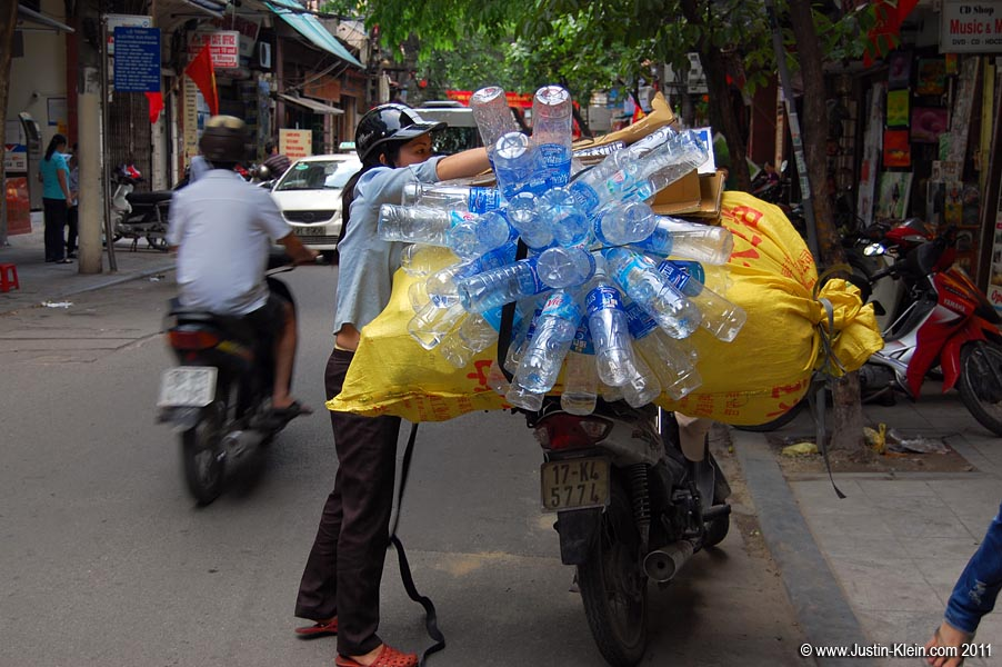 Pretty much everything in Hanoi is transported by motorbike.