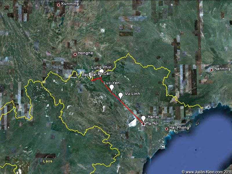 Our planned route from Hanoi to Bac Ha, right on the Chinese border.