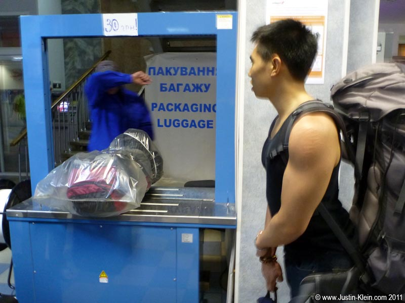 "Airports in Ukraine have these ""sealing stations"" where you pay to have your luggage encased in plastic.  Why?  Apparently, if you don't do so the staff is likely to open your bags and steal your stuff."