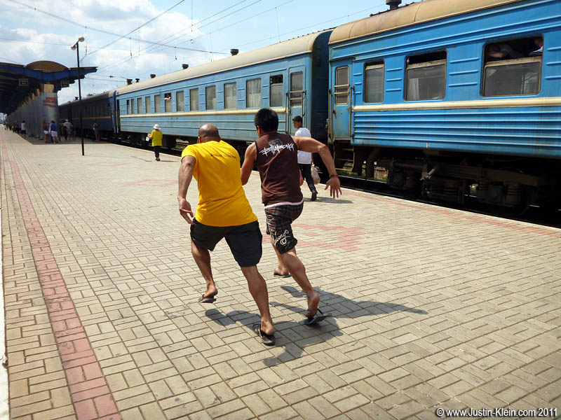 Herb & Gaurav doing sprints at one of the stops.