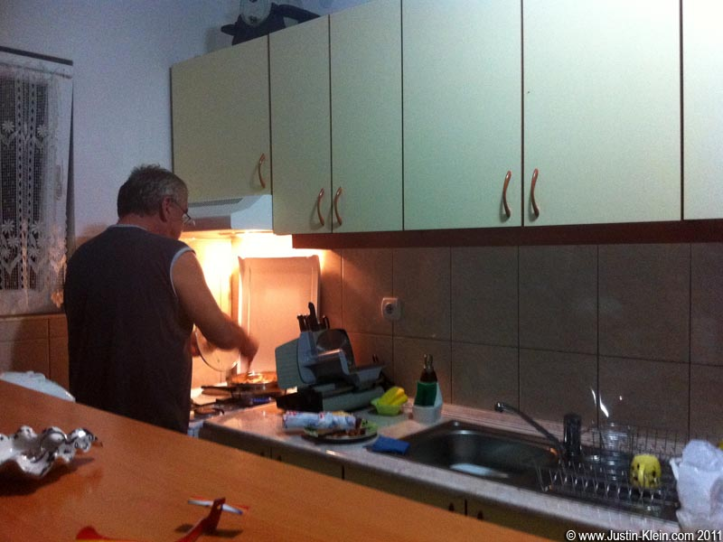 Branko frying up a batch of fresh homegrown mushrooms.