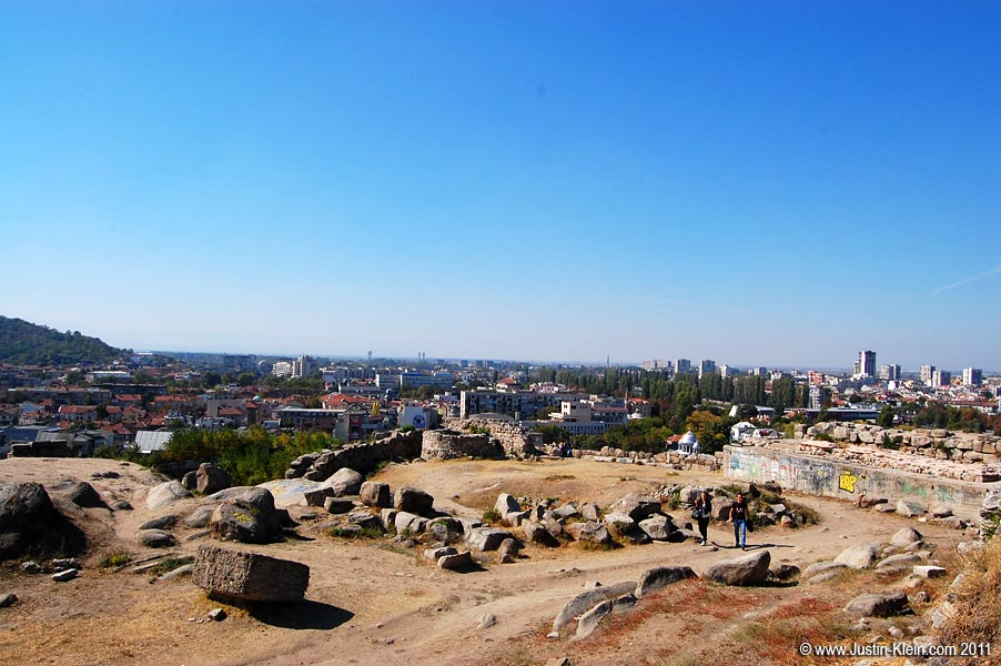 The site of 7,000 year old Eumolpias, overlooking modern-day Plovdiv.