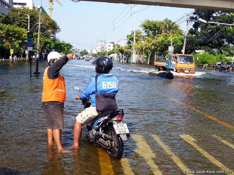 A flooded boulevard in central Bangkok.