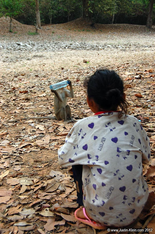 A local girl watches a monkey as he steals what's left of her water.