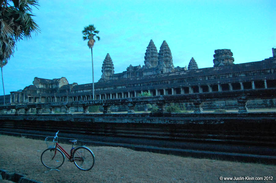 Riding my bike around Angkor Wat at dusk.
