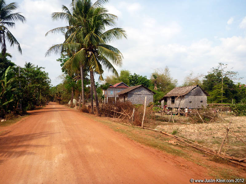 This is a very typical road in Cambodia – only the major highways are paved.