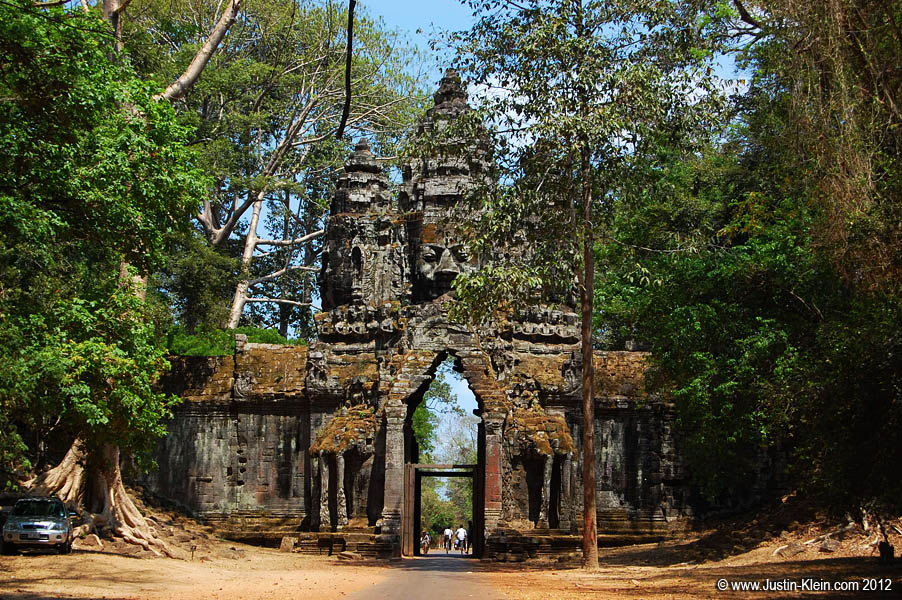 One of the huge stone gates of Angkor Thom, the ancient walled city at the heart of the Angkor empire.