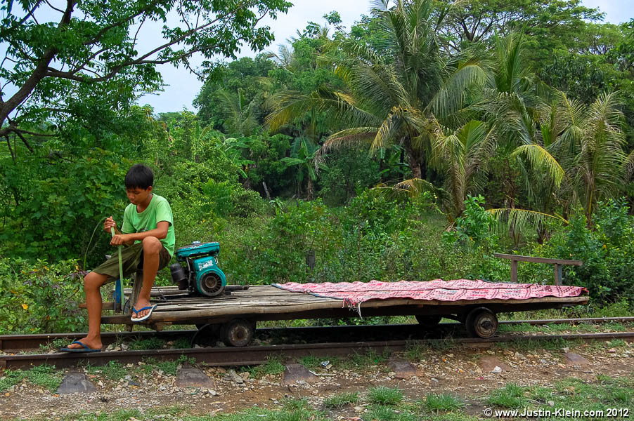 "Battambang's famous ""Bamboo Railway:"" one of the main reasons for my visit."
