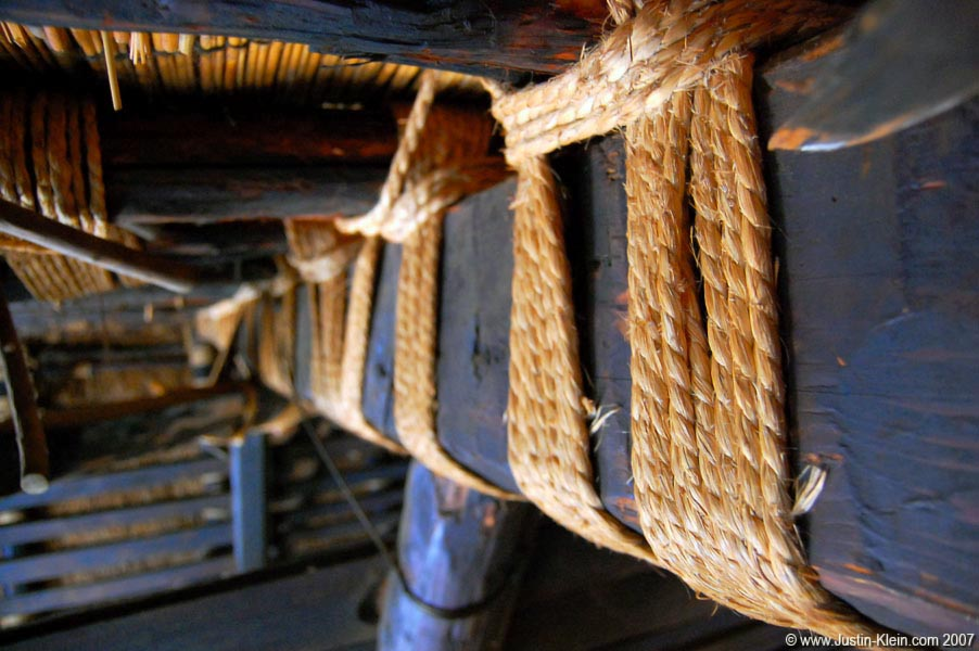 A roof support beam inside a 200 year-old house at Hida-No-Sato, Takayama