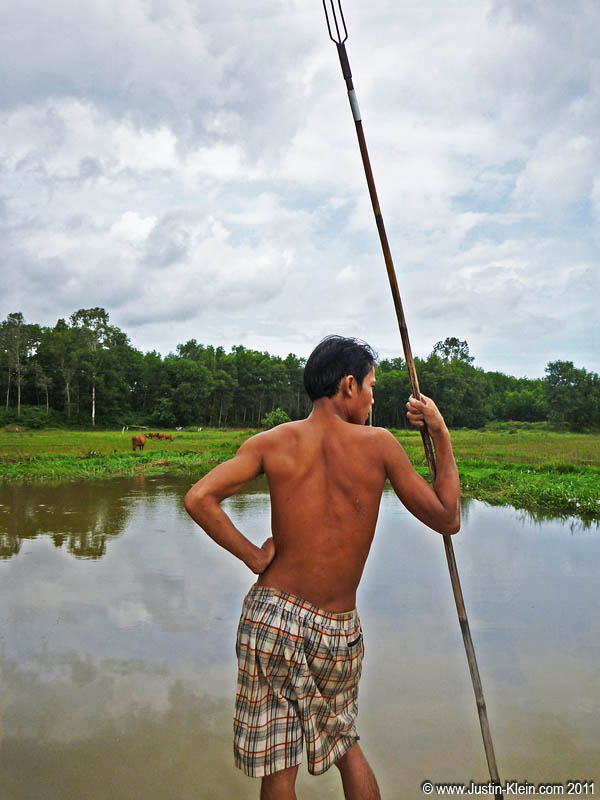 A Vietnamese spear fisherman waiting for his prey.